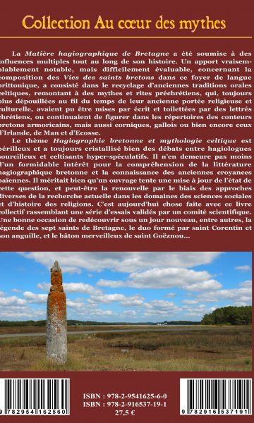Hagiographie bgretonne et mythologie celtique Dos de couverture